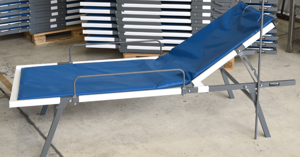 Field hospital cot made with snyder manufacturing industrial fabric